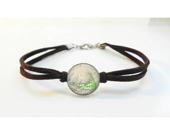 Nantucket Island Map Bracelet - Vintage Map - Leather Bracelet -  Map Jewelry