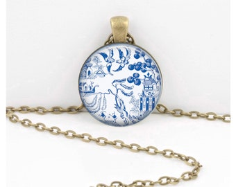 Blue Willow Porcelain Pattern China Glass Pendant Necklace or Key Ring