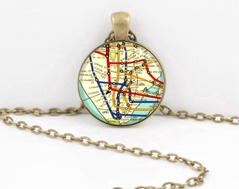 New York Subway Map  Lower Manhattan SoHo Tribeca the Village Vintage Map  Geography Gift  Pendant Necklace or Key Ring