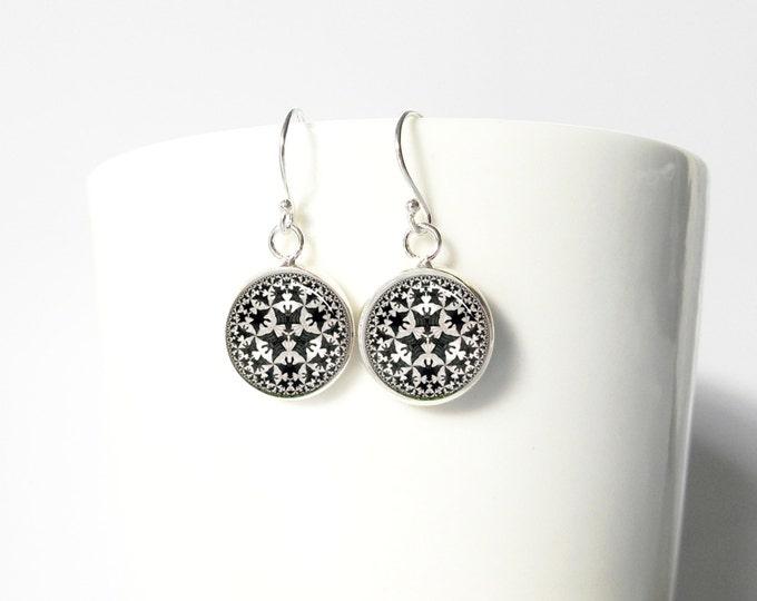Escher Bats Tiny Earrings Pendant  Sterling Silver Dangle Jewelry