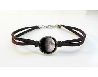 Moon Phase Bracelet - Leather Bracelet - Friendship Gift - Anniversary - Birthday Gift