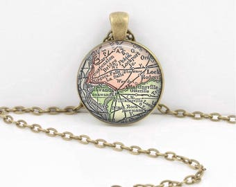 Custom Map Any Map Memory Map Keepsake Vintage Map Geography Gift  Pendant Necklace or Key Ring