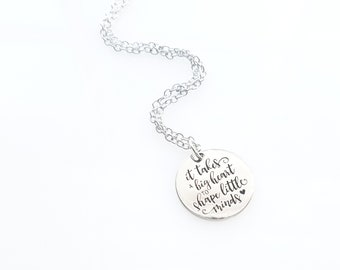 Teacher Gift - It takes a big heart to shape little minds - Inspiration Jewelry -  Silver Stamped  Necklace or Key Ring