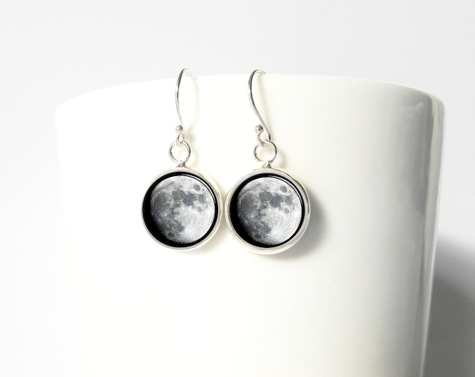 Moon Full Moons Space Earrings Pendant Earrings Sterling Silver Dangle Jewelry