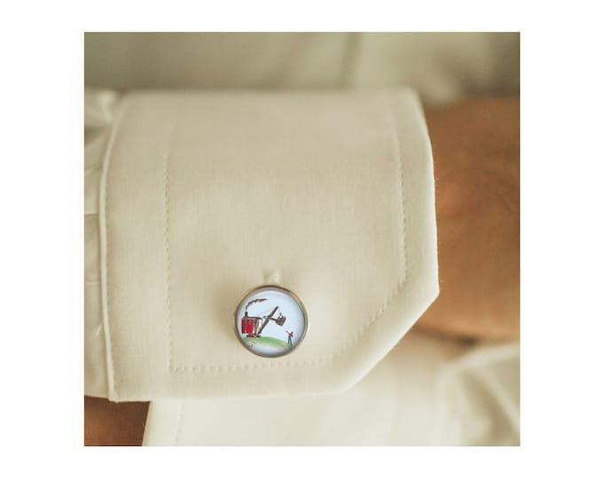 Mike Mulligan cufflinks, men cufflinks, Father's Day Gift, glass dome cufflinks, glass cufflinks, men accessories, gift for men