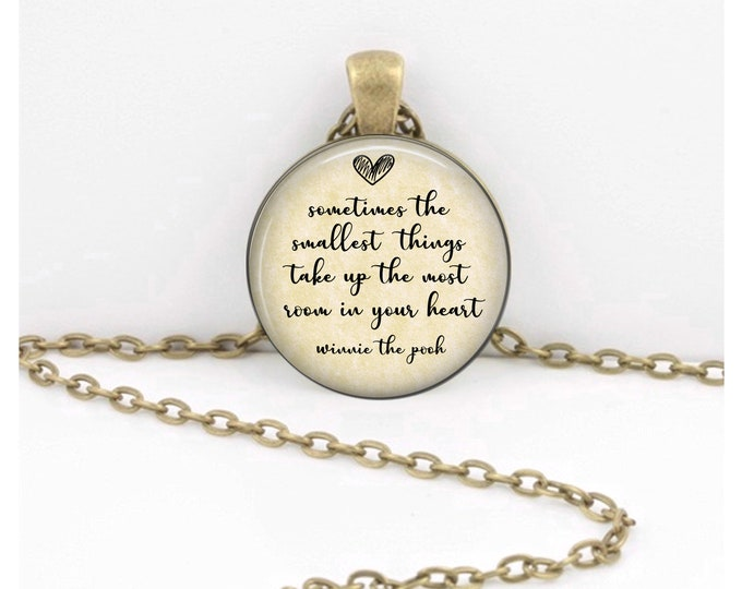 """Winnie-the-Pooh """"Sometimes the smallest things take up the most room in your heart.""""  New Mom or Dad Gift Key Ring Necklace  Jewelry"""