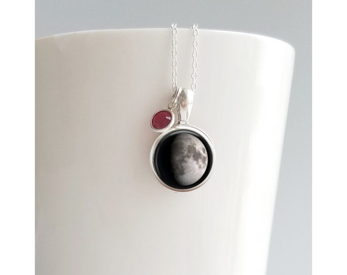 Custom moon in Night Sky Moon phase necklace, custom birth moon, moon necklace, sterling silver jewelry, personalized gift, custom jewelry