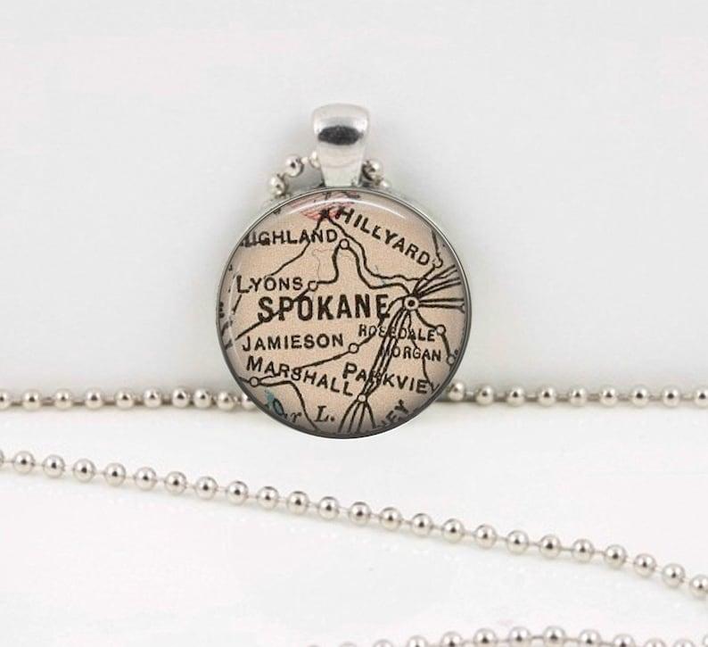 Spokane Washington Vintage Map Geography Gift  Pendant Necklace or Key Ring