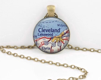 Cleveland Ohio  Vintage Map Geography Gift  Pendant Necklace or Key Ring