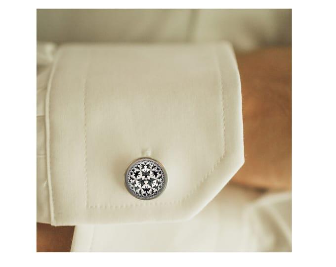 M.C. Escher Bats cufflinks, men cufflinks, Father's Day Gift, glass dome cufflinks, glass cufflinks, men accessories, gift for men