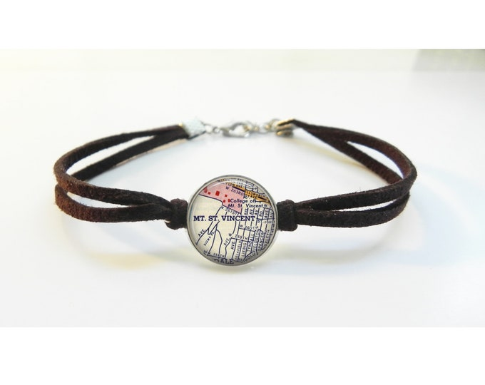 Mount Saint Vincent College Map Bracelet - New York Vintage Map - Leather Bracelet -  Map Jewelry