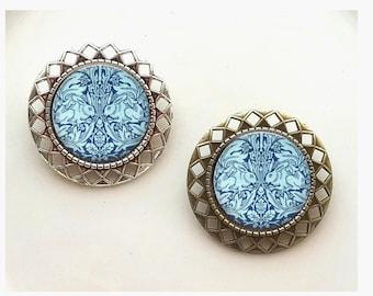 Bunnies Rabbits William Morris Art Deco Art Nouveau Morris Vintage-y Brooch Jewelry Scarf Clip Pin Badge Jewelry Vintage Gift