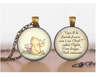 Pooh and Piglet Friends Forever Winnie the Pooh Double Sided Pendant Double Pendant Two Sided Necklace