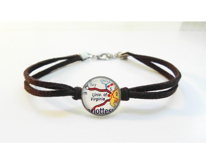 University of Virginia UVA Charlottesville  Map Bracelet - Vintage Map - Leather Bracelet -  Map Jewelry