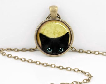 Black Cat Peeping Pendant Necklace Inspiration Jewelry or Key Ring