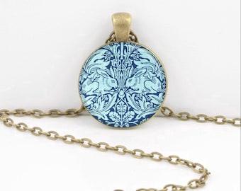 William Morris Textile Art Rabbits Bunnies Blue Art Nouveau Art Pendant Necklace Inspiration Jewelry or Key Ring