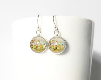 Winnie the Pooh Christopher Robin Sterling Silver Earrings Gift  Silver Jewelry