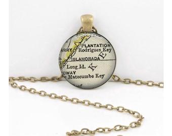 Florida Keys Islamorada Vintage Map Antique Map Geography Gift  Pendant Necklace or Key Ring