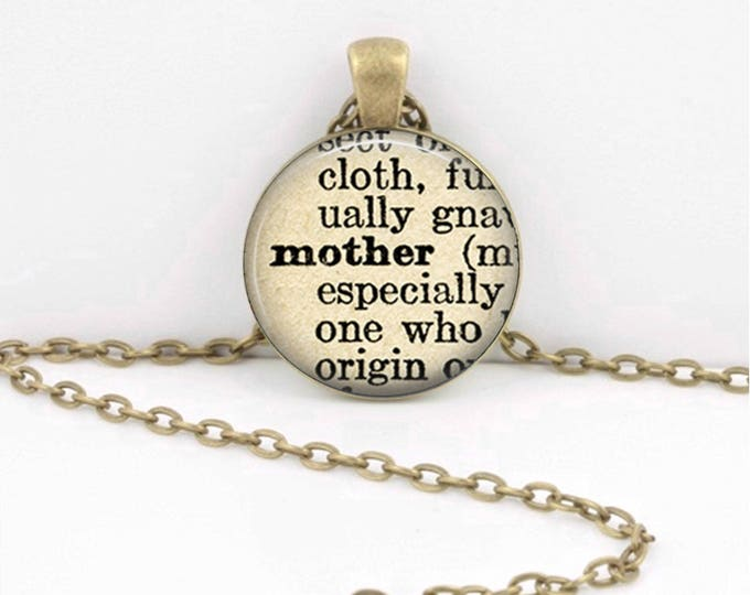 Mother Vintage Dictionary Page Mother's Day Gift  Pendant Necklace or Key Ring