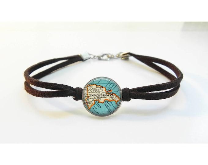 Map Bracelet Dominican Republic - Vintage Map - Leather Bracelet -  Map Jewelry