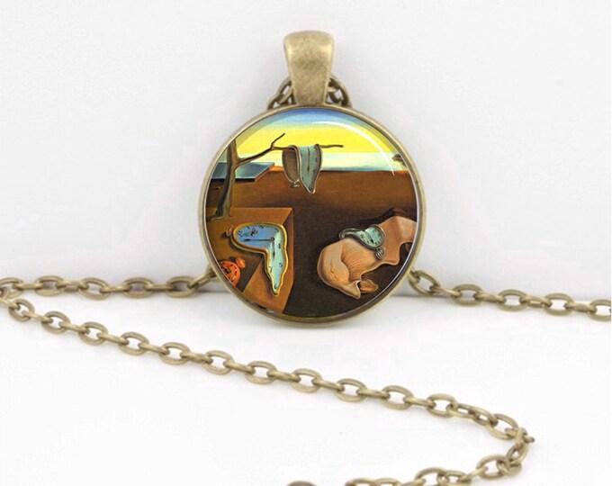 "Salvador Dali Clocks ""Persistence of Memory"" Surrealist Pendant Necklace or Key Ring Art Pendant"