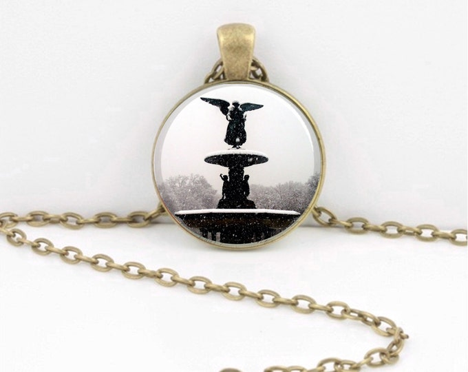 New York Central Park Bethesda Fountain Angel Necklace Jewelry or Key Ring