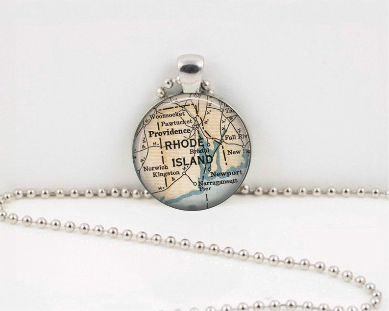 Map Necklace Custom Jewelry Map Pendant Personalized Jewelry Rhode Island Vintage Map Rhode Island Map Pendant Necklace -Map Jewelry