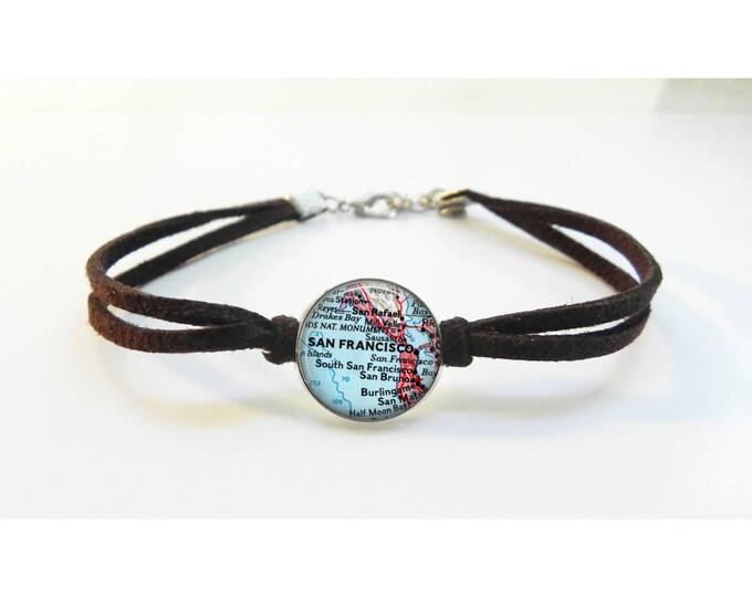 RESERVED - Custom Bracelet Map Any Map Bracelet - Vintage Map - Leather Bracelet -  Map Jewelry