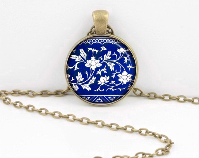 White and Blue Porcelain Ming China Glass Pendant Necklace or Key Ring