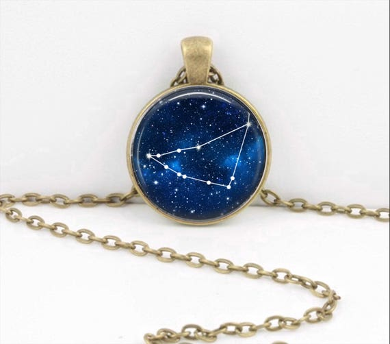 Family Decor Cancer Starry 12 Constellation Pendant Necklace Cabochon Glass Vintage Bronze Chain Necklace Jewelry Handmade