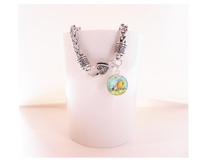 Winnie the Pooh Silver Charm Bracelet  Heart Clasp Bracelet with Pendant
