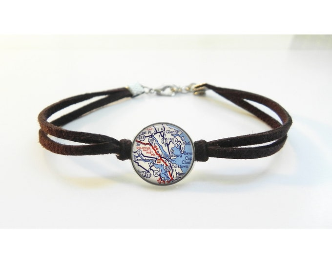 Williamsburg VA Map Bracelet - Vintage Map - Leather Bracelet -  Map Jewelry