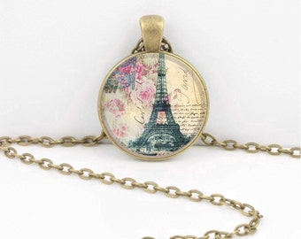 Floral Paris Eiffel Tower Vintage Post Card Pendant Necklace Inspiration Jewelry or Key Ring