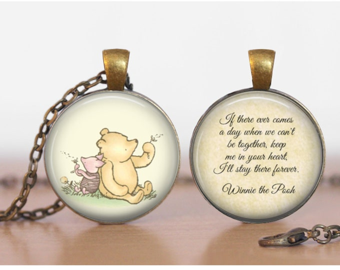 Pooh and Piglet  Winnie the Pooh Double Sided  Pendant Double Pendant Two Sided Necklace