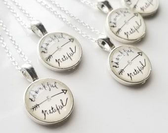 Thankful & Grateful Art Sterling Silver Pendant Necklace