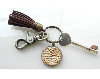 Paris France Vintage  Map Key Chain Gift