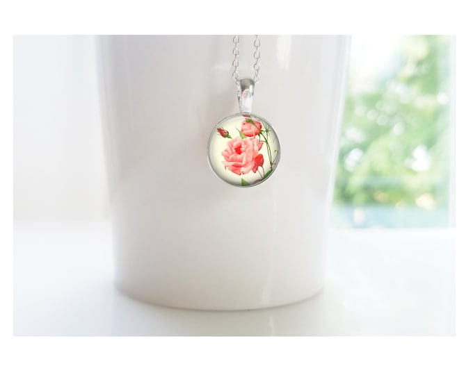 Rose June Flower of the Month Pendant, Sterling Silver Birthday Necklace, Bridesmaid Gift, Birth Month Flower Gift