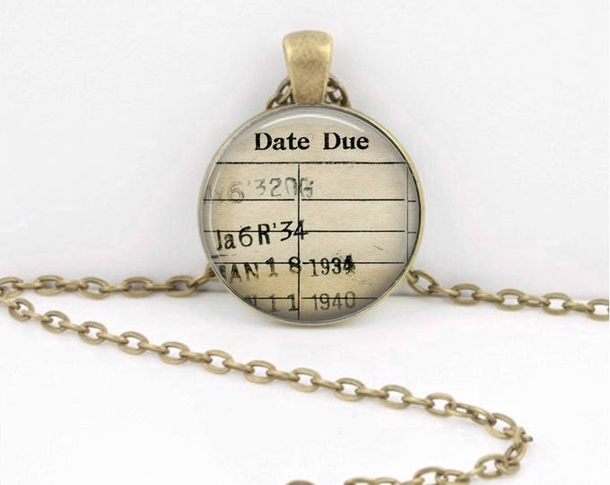 Librarian Gift Library Card Bibliophile Book Lover Vintage Books Pendant Necklace or Key Ring