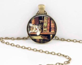 Books and  Cat  Book Lover Cat Lover  Reader Bookish Vintage Illustration Pendant Necklace or Key Ring