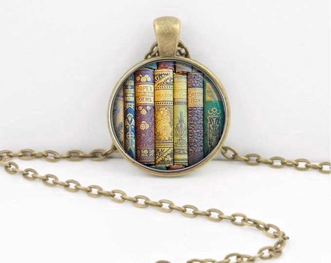 Book Necklace - Librarian  Teacher Pendant - Book Lover Necklace - Literary Jewelry - Gift - Library Book Pendant Necklace or Key Ring