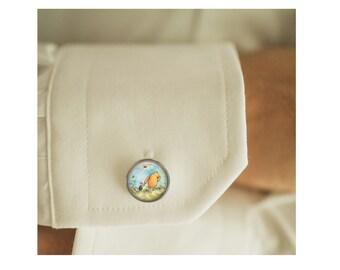 Winnie-the-Pooh cufflinks, men cufflinks, Father's Day Gift, glass dome cufflinks, glass cufflinks, men accessories, gift for men