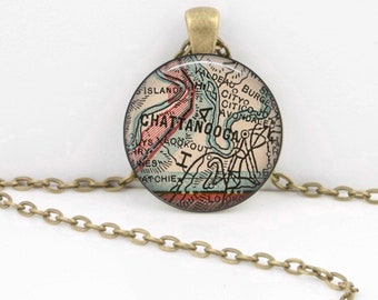 Chattanooga Tennessee Vintage 1927 Map Geography Gift  Pendant Necklace or Key Ring