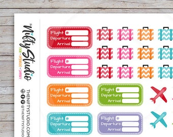 Travel Vacation Planner Stickers | Airplane, flight schedule Suitcase Stickers | Planner Stickers | The Nifty Studio [167]