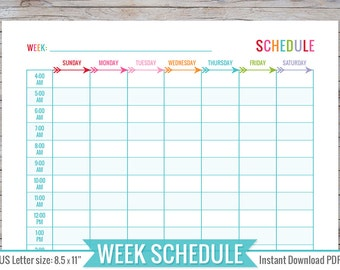 Weekly Schedule 8.5 x 11 | Printable - Instant Download - Planner, Organizer, Perpetual