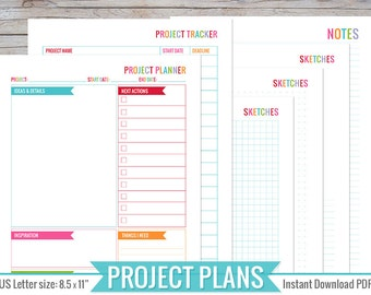 Project Planner - 8.5 x 11   Printable, Perpetual, Instant Download - Easily plan and keep track of all your projects!