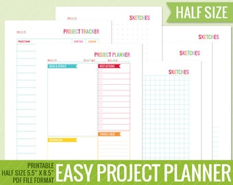 Project Planner 5.5 x 8.5   Half Size, Printable, Perpetual,  Easily plan and keep track of all your projects!
