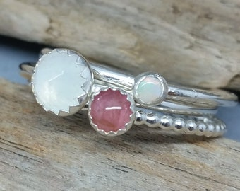 Stacking Rings, sterling silver stacking rings. Rainbow Moonstone, Opal ring, Pink Tourmaline, ring set, gemstone stackers, gift for her