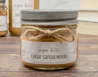 Cedar Wood Candle - Man Cave Candles - Wood Scent Candle - Small Candles for Favors - Nature Theme Party Favors - Sandalwood Scented Candle