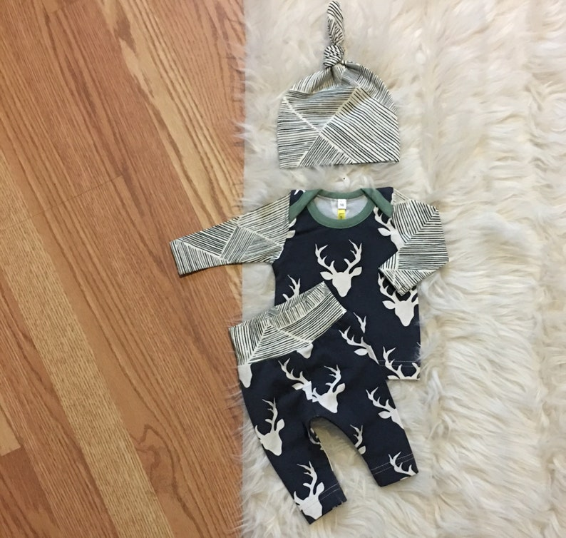 shower gift READY TO SHIP! baby boy take home going home Newborn boy coming home outfit fall Navy deer hospital outfit