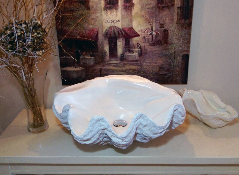 Giant Clam Shell Bathroom Sink Wash Basin Bowl Vessel Counter Top Cloakroom In Pure White Sculpture Art